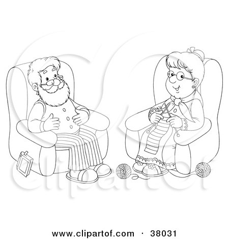 Clipart Illustration of a Black And White Outline Of A Senior Man And Woman Knitting by Alex Bannykh