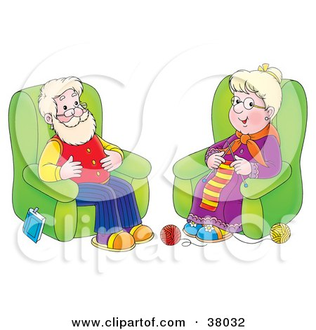 Clipart Illustration of a Happy Grandpa And Grandma Seated In Chairs, The Woman Knitting by Alex Bannykh