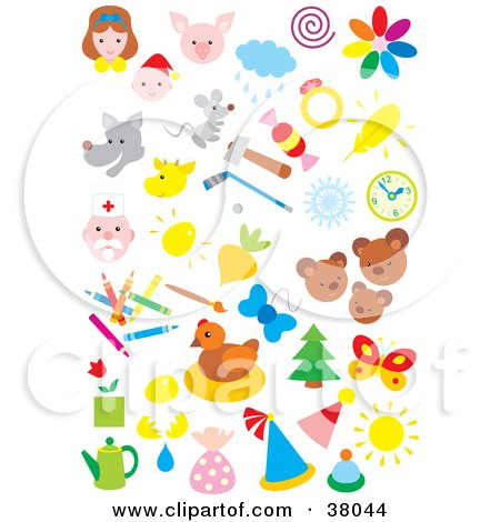 Clipart Illustration of People, Animals, Weather, Sports, And Art by Alex Bannykh