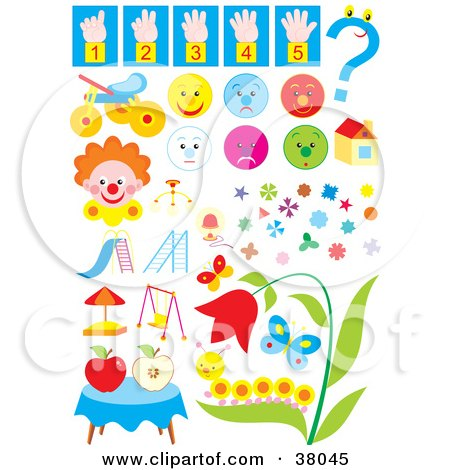 Clipart Illustration of Counting, Faces, Toys, Clowns, Shapes, Bugs And Flowers by Alex Bannykh