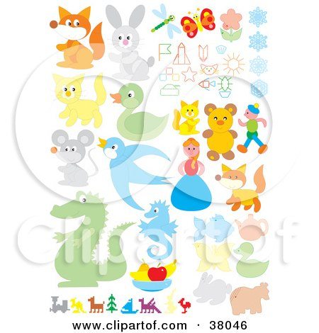 Clipart Illustration of a Set Of Animals, People, And Flowers by Alex Bannykh