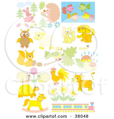 Clipart Illustration of Pastel Animals, Flowers And A Train by Alex Bannykh
