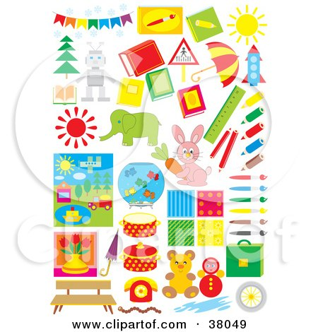Clipart Illustration of Toys, Trees, Arts And Animals by Alex Bannykh