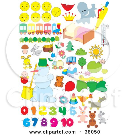 Clipart Illustration of Faces, Trains, Bugs, Animals, Snowmen, And Numbers by Alex Bannykh