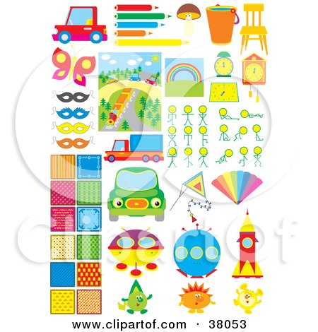 Clipart Illustration of Transportation, Art, Food, Furniture, Backgrounds And Science Fiction by Alex Bannykh