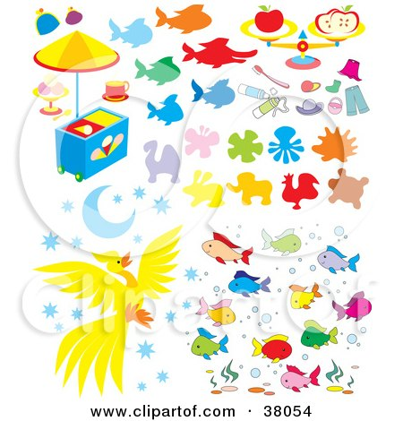 Clipart Illustration of Animals, Food, Clothes, And Fish by Alex Bannykh