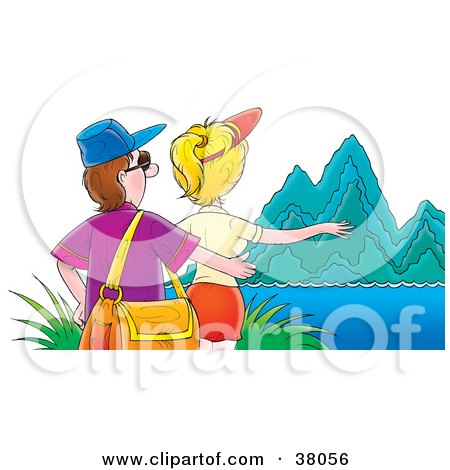 Clipart Illustration of a Tourist Couple Admiring Steep Mountains by Alex Bannykh