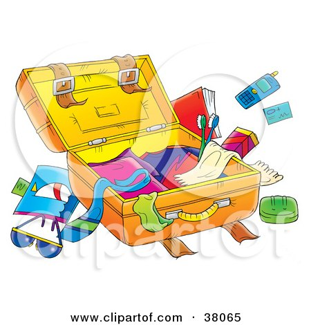 Clipart Illustration of Clutter Around An Open Suitcase by Alex Bannykh