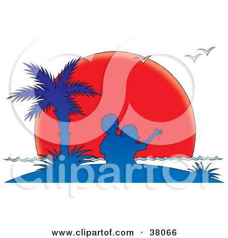 Clipart Illustration of a Couple Under A Palm Tree, Silhouetted In Blue Against A Red Sunset Sun by Alex Bannykh