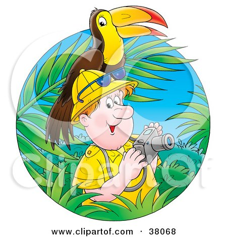 Clipart Illustration of a Happy Male Tourist Taking Pictures In A Jungle, A Toucan On His Head by Alex Bannykh