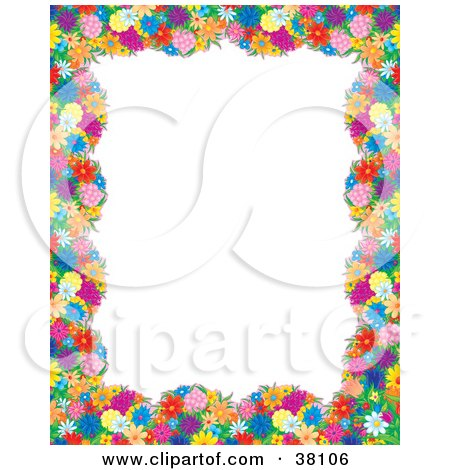 Clipart Illustration of a Floral Border Or Frame Around A White Background by Alex Bannykh