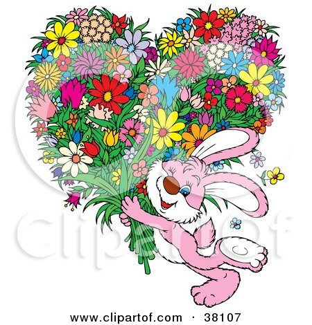 Clipart Illustration of a Pink Rabbit Winking And Carrying An Oversized Heart Shaped Floral Bouquet by Alex Bannykh