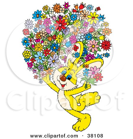 Clipart Illustration of a Yellow Bunny Carrying An Oversized Floral Bouquet by Alex Bannykh