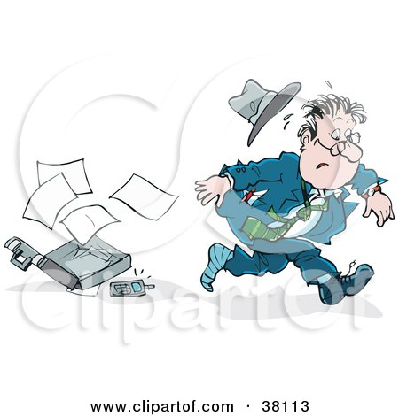 Clipart Illustration of a Very Late Businessman Dropping His Briefcase by Alex Bannykh