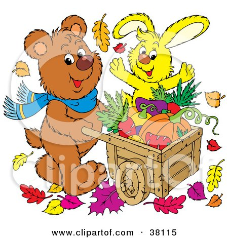 Clipart Illustration of a Brown Bear And Yellow Rabbit Pushing A Wheelbarrow Of Autumn Veggies by Alex Bannykh