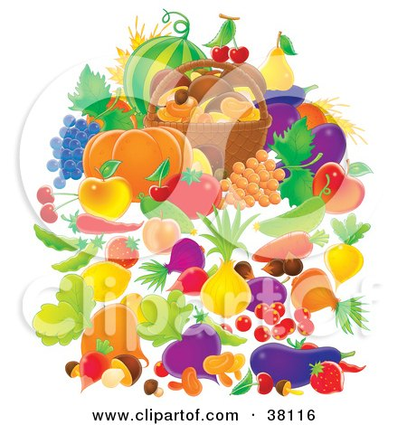 Clipart Illustration of Harvested Fruits And Veggies Surrounding A Small Basket Of Mushrooms by Alex Bannykh