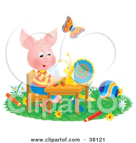 Clipart Illustration of a Butterfly Watching A Snail Chat With A Pig At A Table, Surrounded By Toys And Colored Pencils by Alex Bannykh