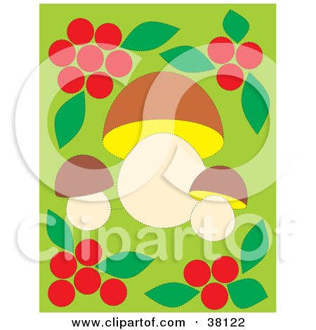 Clipart Illustration of a Border Of Red Berries And Leaves Around Mushrooms On Green by Alex Bannykh