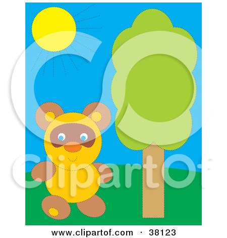 Clipart Illustration of a Cute Bear Standing By A Tree On A Sunny Day by Alex Bannykh