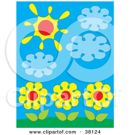Three Yellow Daisies Under Clouds And The Sun Posters, Art Prints