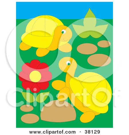 Clipart Illustration of Two Turtles Playing By A Red Flower by Alex Bannykh