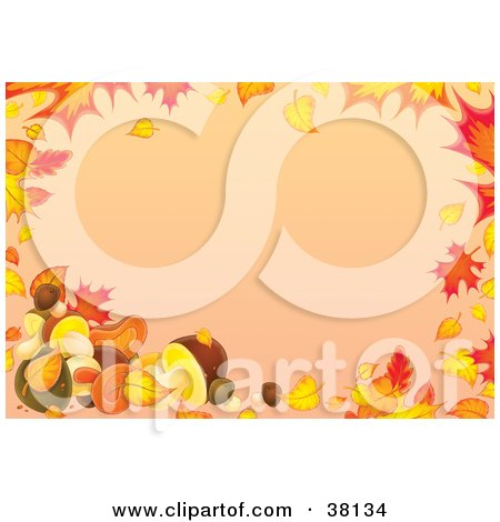Clipart Illustration of a Stationery Border Of Autumn Leaves And Mushrooms Over An Orange Background by Alex Bannykh