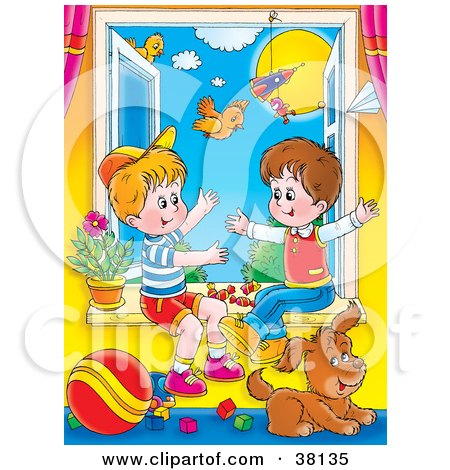 Clipart Illustration of Two Little Boys Playing In An Open Window With Their Puppy On A Sunny Day by Alex Bannykh