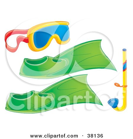 Clipart Illustration of a Diving Mask With Green Flippers And A Snorkel Tube by Alex Bannykh