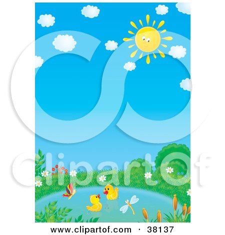 Clipart Illustration of Two Ducklings Swimming In A Pond, A Butterfly And Dragonfly Flying Over Them On A Sunny Day by Alex Bannykh
