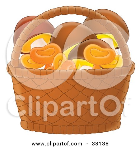 Clipart Illustration of Gathered Mushrooms In A Basket by Alex Bannykh
