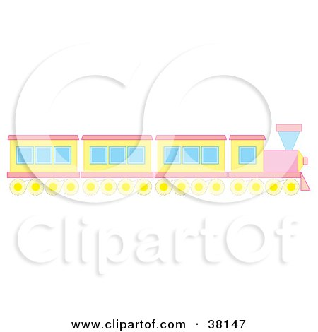Clipart Illustration of a Pink And Yellow Train by Alex Bannykh