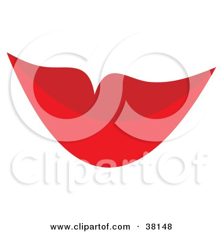 Woman's Red Satisfied Lips Posters, Art Prints