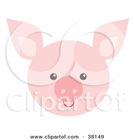 Clipart Illustration of a Pink Piggy Face by Alex Bannykh