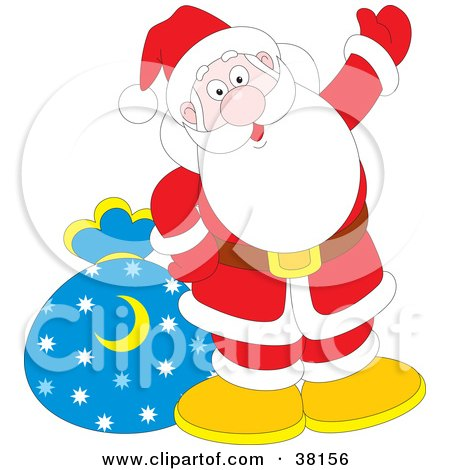 Clipart Illustration of Santa Waving With His Toy Sack by Alex Bannykh