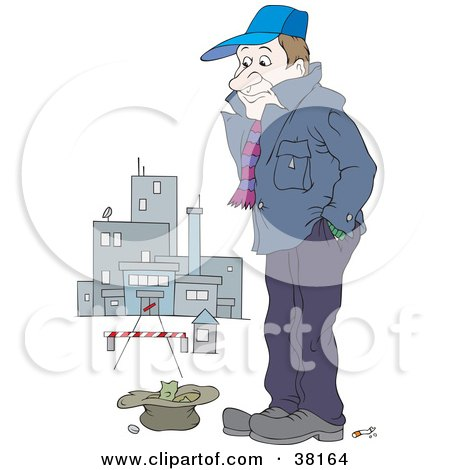 Poor Man Standing Outside A Closed Factory With Money In A Hat Posters, Art Prints