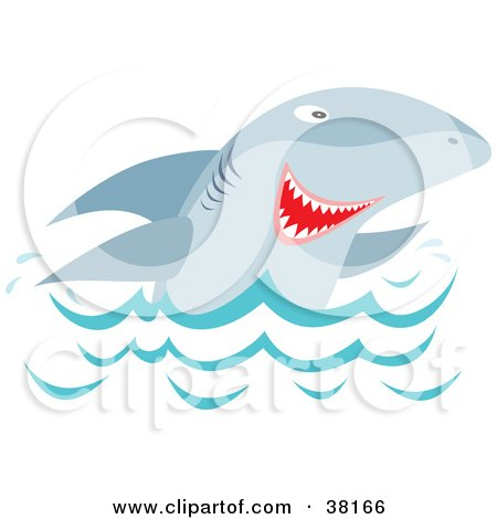 Clipart Illustration of a Shark Peeping Up Over Waves by Alex Bannykh