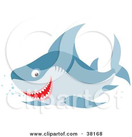 Clipart Illustration of a Happy Shark Swimming With Bubbles by Alex Bannykh