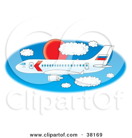 Clipart Illustration of a Large White Commercial Airplane Flying Through A Blue Sky With A Red Sun And Puffy White Clouds by Alex Bannykh