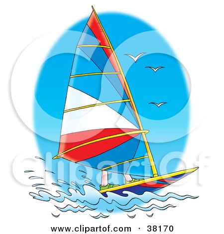 Clipart Illustration of Seagulls Flying Over A Sailboat by Alex Bannykh