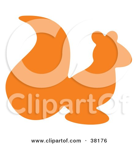 Clipart Illustration of an Orange Silhouetted Squirrel by Alex Bannykh