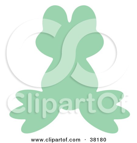Clipart Illustration of a Light Green Silhouetted Frog by Alex Bannykh