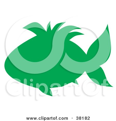 Clipart Illustration of a Green Silhouetted Fish by Alex Bannykh