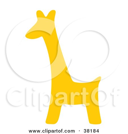 Clipart Illustration of a Yellow Silhouetted Giraffe by Alex Bannykh