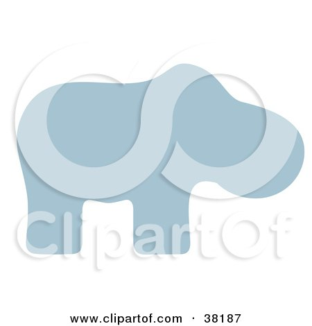 Clipart Illustration of a Blue Silhoeutted Hippo by Alex Bannykh