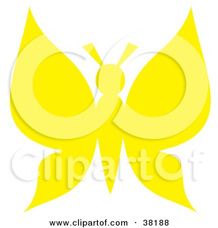 Clipart Illustration of a Yellow Silhouetted Butterfly by Alex Bannykh