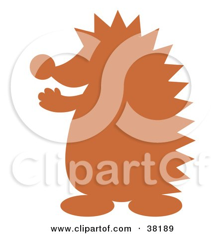 Clipart Illustration of a Brown Silhouetted Hedgehog by Alex Bannykh