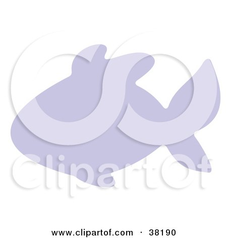 Clipart Illustration of a Purple Silhouetted Fish by Alex Bannykh
