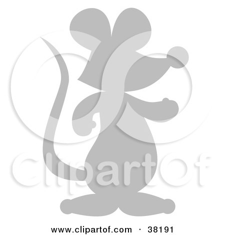 Clipart Illustration of a Gray Silhouetted Mouse by Alex Bannykh