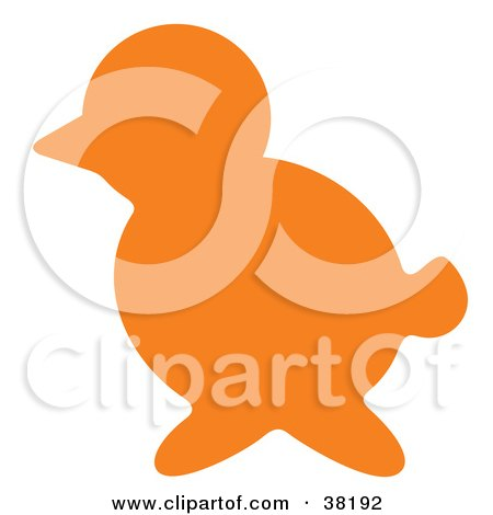 Clipart Illustration of an Orange Silhouetted Bird by Alex Bannykh