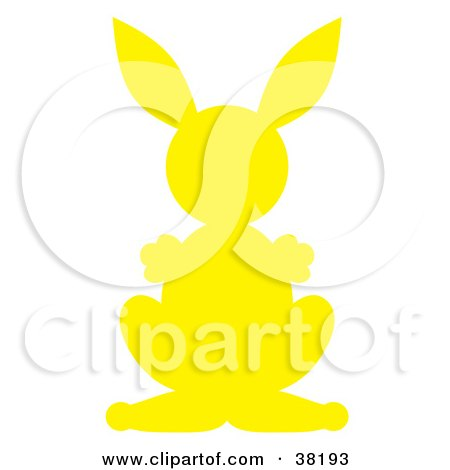 Clipart Illustration of a Yellow Silhouetted Rabbit by Alex Bannykh